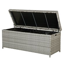 Garden Deck PE Rattan Storage Box Grey 158 x 63 cm