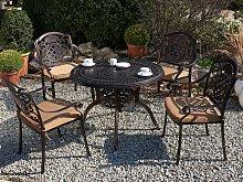 Garden Dining Set Brown Aluminium Outdoor Table 4