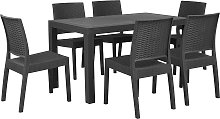 Garden Dining Set Table 6 Chairs Outdoor Grey