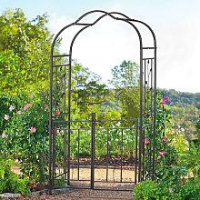 Garden Entrance Iron Arch Gate with Plant Climbing