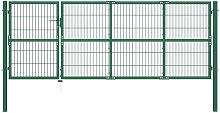 Garden Fence Gate with Posts 350x120 cm Steel