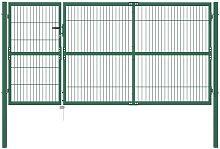 Garden Fence Gate with Posts 350x140 cm Steel