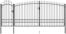 Garden Fence Gate with Spear Top 5x2.45 m Black -