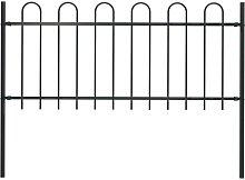 Garden Fence with Hoop Top Steel 1.7x1 m Black