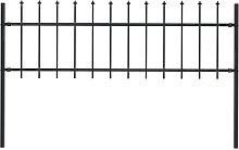 Garden Fence with Spear Top Steel 1.7x0.6 m Black