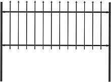 Garden Fence with Spear Top Steel 1.7x0.8 m Black