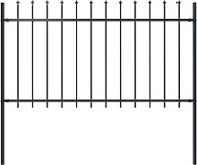 Garden Fence with Spear Top Steel 1.7x1 m Black