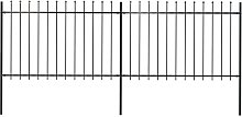 Garden Fence with Spear Top Steel 3.4x1.2 m Black