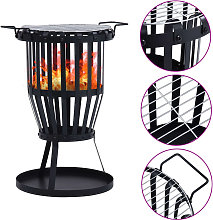 Garden Fire Pit Basket with BBQ Grill Steel 47.5