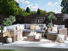 Garden Lounge Set Brown PE Rattan Corner Sofa