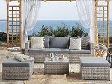 Garden Lounge Set Brown White Cushions PE Rattan