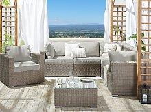 Garden Lounge Set Taupe PE Rattan Corner Sofa