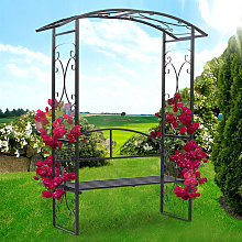 Garden Metal Arch Gate with 2 Seater Bench Plant