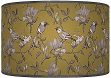 Garden Mustard Grey Birds Giclee Style Printed