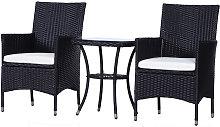 Garden Outdoor Rattan Furniture Bistro Set 3 PCs
