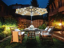 Garden Parasol Taupe Shade with LED Light ø 266 x