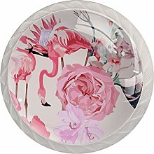 Garden Pink Flowers 4PCS Drawer Knobs,Cabinet