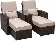 Garden Rattan Companion Sofa Chair & Stool Lounger