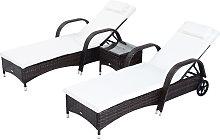 Garden Rattan Furniture 3 PC Sun Lounger Recliner