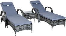 Garden Rattan Furniture 3PC Sun Lounger Recliner