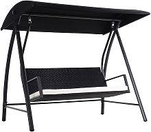 Garden Rattan Swing Chair Bench Hammock Lounger -