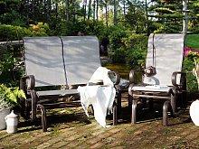 Garden Rocking Chair Brown Aluminium Frame Outdoor