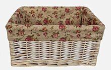 Garden Rose Lined Storage Wicker Basket Lily Manor