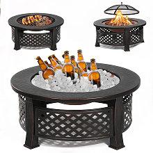 Garden Round Fire Pit Patio BBQ Brazier Fireplace Heater