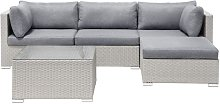 Garden Sectional Sofa Square Coffee Table Beige