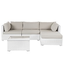 Garden Sectional Sofa w/ Coffee Table White Faux