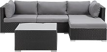 Garden Sectional Sofa w/ Square Coffee Table Black