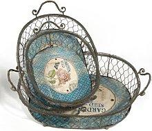 Garden Seed 3 Piece Metal Basket Set Fleur De Lis