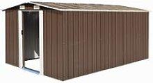 Garden Shed 257x398x178 cm Metal Brown