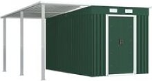 Garden Shed with Extended Roof Green 336x270x181
