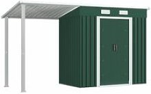 Garden Shed with Extended Roof Green 346x121x181