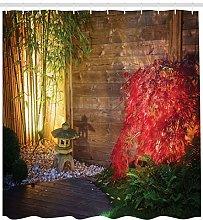 Garden Shower Curtain Japanese Zen Bamboo Print