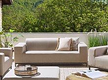 Garden Sofa Beige Fabric Black Aluminium Legs