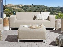 Garden Sofa Beige Fabric Upholstery White