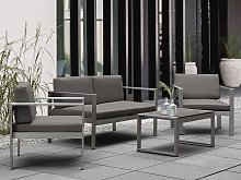 Garden Sofa Dark Grey Aluminium Frame Outdoor 2
