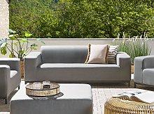 Garden Sofa Grey Fabric Upholstery Black Aluminium