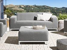 Garden Sofa Grey Fabric Upholstery White Aluminium