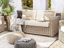 Garden Sofa Light Brown Rattan Wicker Outdoor 2