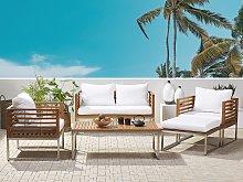 Garden Sofa Set Acacia Wood White Cushions 4