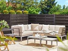 Garden Sofa Set Beige Aluminium Polyester 6 Seater