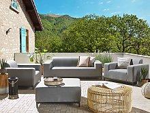 Garden Sofa Set Beige Fabric Upholstery Black
