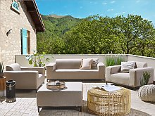 Garden Sofa Set Beige Fabric Upholstery with