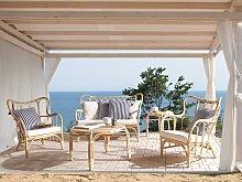 Garden Sofa Set Beige Natural Rattan 2 Tables 2