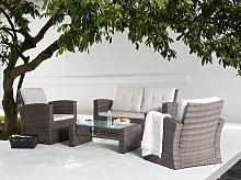 Garden Sofa Set Brown Faux Rattan with Beige