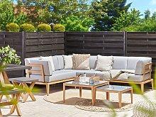 Garden Sofa Set Grey Aluminum Polyester 6 Seater
