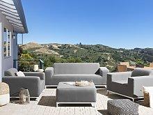Garden Sofa Set Grey Fabric Upholstery White